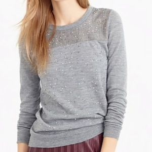 J Crew Embellished Tippi Sweater in Glen Plaid
